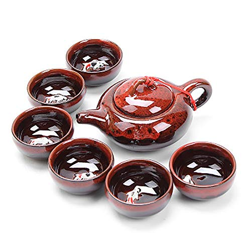 GuoYq Creative Ceramic Cup Set, kiln Fish Cup Kung Fu Tea Set kiln Glazed Ceramic, Chinese Handmade Simple Home Wedding, Tea Set/Coffee Cup/Gift Box, 6 Cups 1 teapot