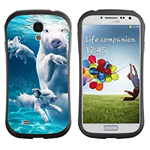 Hybrid Anti-Shock Bumper Case for Samsung Galaxy S4 / Swimming Pigs