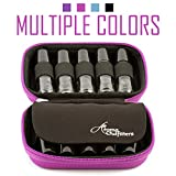 Essential Oil Carrying Case - Protects TEN 10ml Roller Bottles - (Can hold 10ml, 10ml Rollers, & 5ml) Travel Bag Organizer works with Young Living, doTERRA, and more (pink)