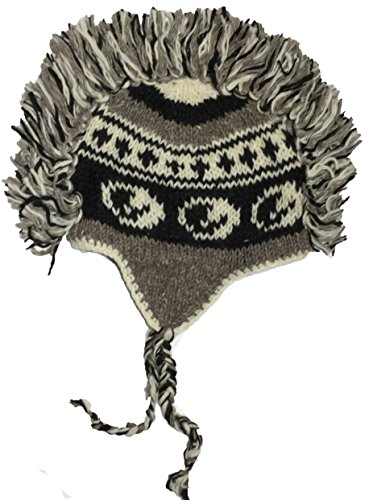 Cotton Konnection Mohawk Hand Knitted 100% Wool Double Layer Winter Hat With Fleece Lining and Earflaps (Design_28)