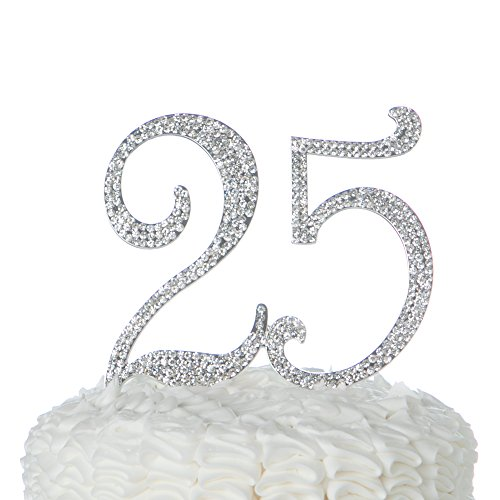 Ella Celebration 25 Cake Topper for 25th Birthday or Anniversary, Crystal Rhinestone Party Decoration Supplies (Silver) -