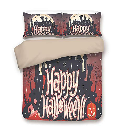 iPrint Duvet Cover Set,Back of Khaki,Halloween,Medieval Gothic Castle with Happy Halloween Typography Stars Bats Moon Cheerful,Multicolor,Decorative 3 Pcs Bedding Set by 2 Pillow Shams,Queen