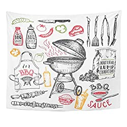 Yguii Tapestry Drawn Barbecue Grill White Cookout Bbq Party Sketch Of Charcoal Kettle With Tools And Foods Vintage Home Decor Wall Hanging For Living Room Bedroom Dorm 150150cm 60 60
