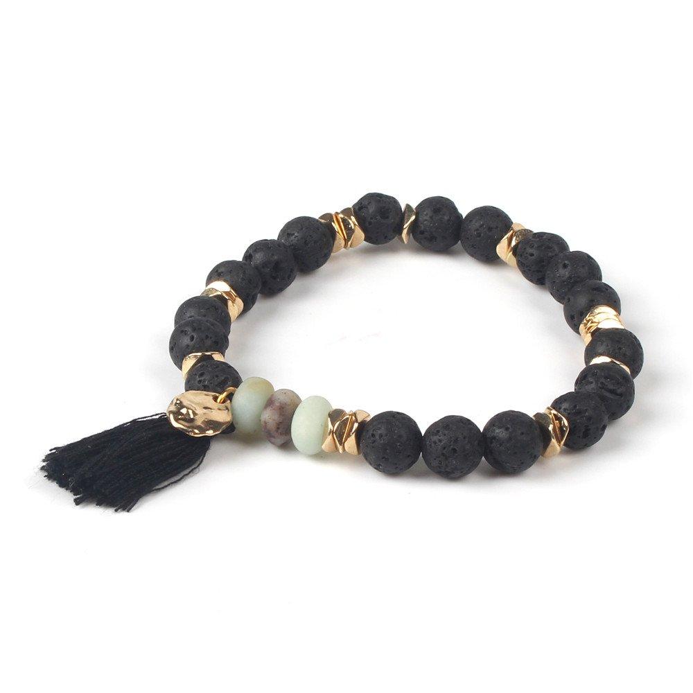 Shinus Mens Womens Chakra Bracelet Mala Beads Tassel Charm Bohemia Amazonite/Rose Quartz Lava Volcanic Stone Jewelry