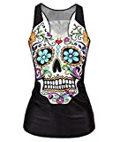 Ensasa Women's Fashion Skull Flower Camisole Halter Top Sleeveless T-shirt, X-Large