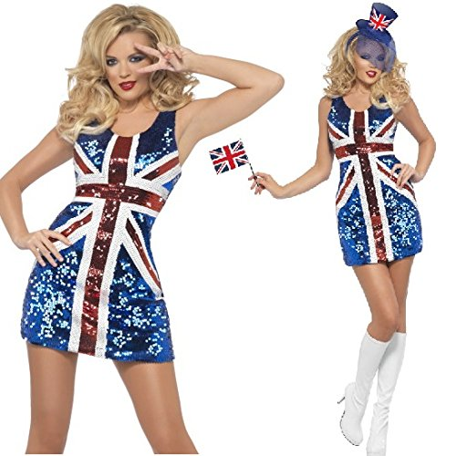 Ladies Sexy Sequinned Union Jack Ginger Spice Girls Rule Britannia