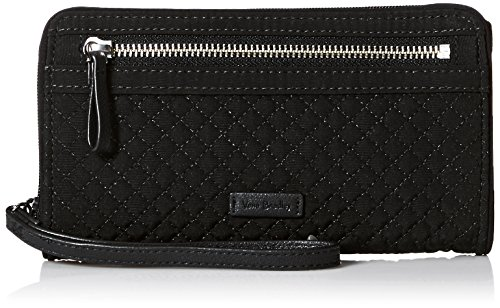 - Vera Bradley Iconic RFID Front Zip Wristlet, Microfiber, Classic Black