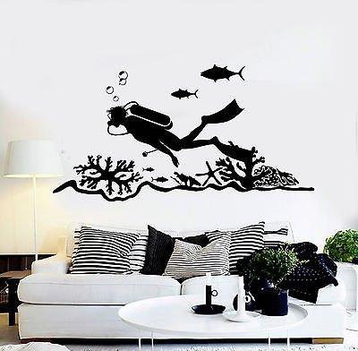 - Vinyl Wall Decal Scuba Diving Center Diver Ocean Stickers Murals (vs4706)