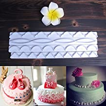 FVIEW 4Pcs Plastic Ribbon Border Cake Molds Embosser Fondant Biscuit Cookie Cutter
