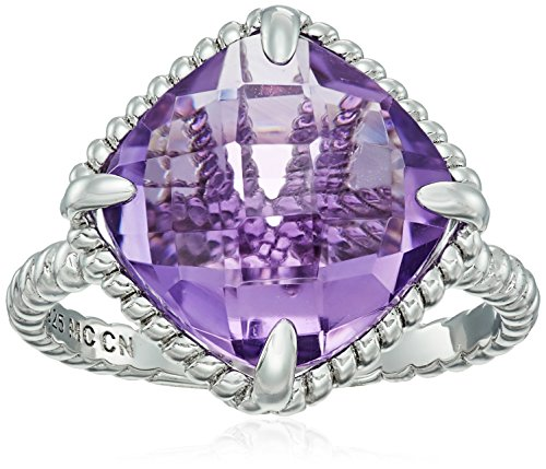 (Sterling Silver Amethyst Cushion Ring, Size 7)