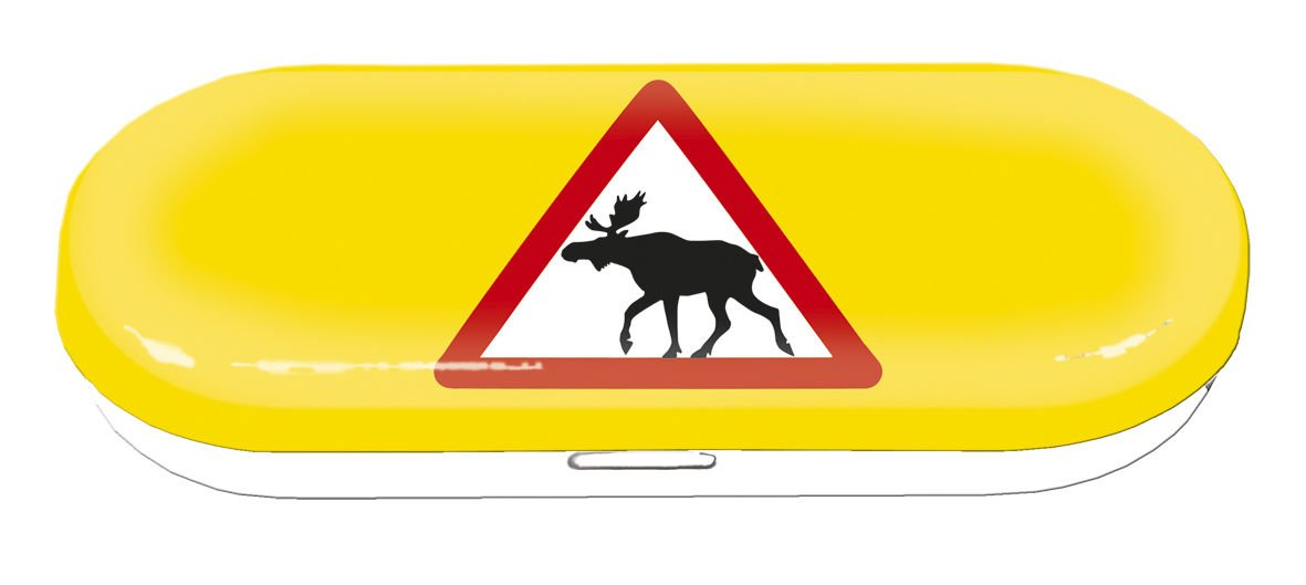 Fridolin 18687 Attention Moose Norway 16 x 6.6 x 2.8 cm Multi-Coloured Metal Glasses Case