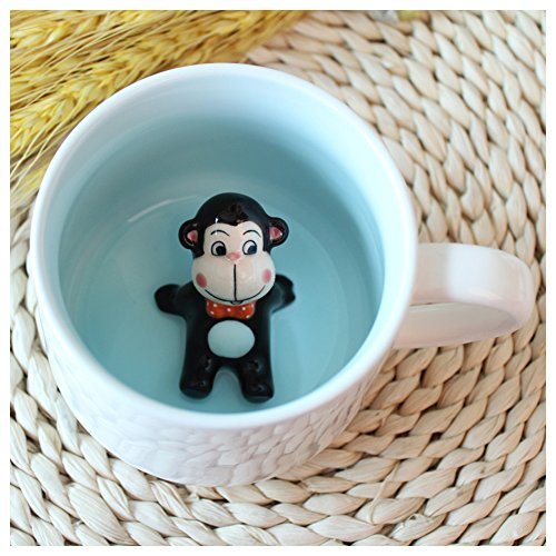 Birthday Monkey Gift - 3D Cute Cartoon Miniature Animal Figurine Ceramics Coffee Cup - Baby Monkey Inside, Best Office Cup & Birthday Gift (Monkey)