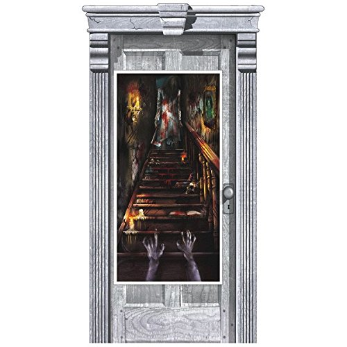 Amscan Haunted Mansion Door Halloween Trick or Treat Party Decoration, Plastic, 65