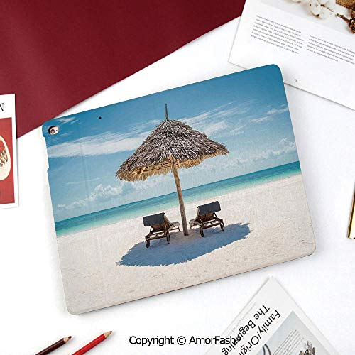 Seaside Nice Cute Flip Stand Case PU Leather Folio Cover for Samsung Galaxy Tab A 8 Inch 2015 Version,Wooden Sun Loungers Facing Eastern Ocean Under a Thatched Umbrella in Zanzibar