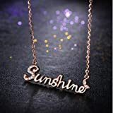 BAOZIV587 Do not Fade Rose Gold Titanium Steel Necklace Female Clavicle Chain Girlfriends Sister Chain Simple Student Sen Series Tide, Orange English Letters
