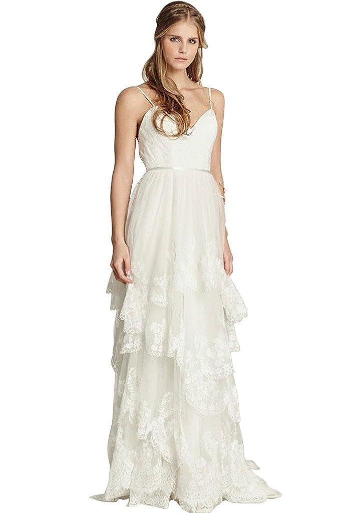 Joyvany Glamorous Ruffles Sexy Cool Beach Wedding Dress