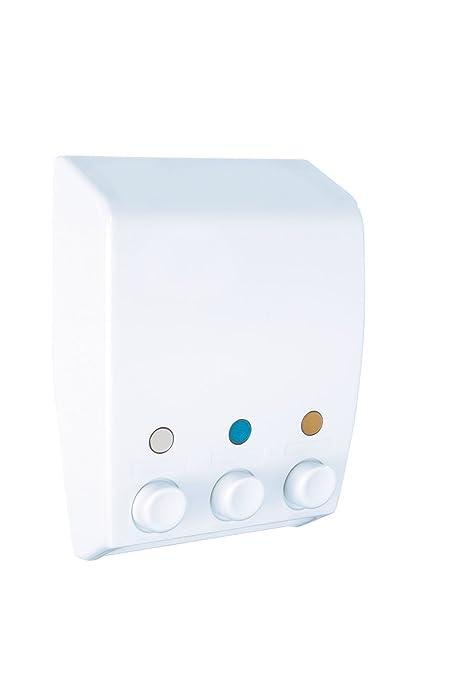 Wenko Dispensador de Gel 0.45 L, Blanco, 8x19x25 cm 3 Unidades