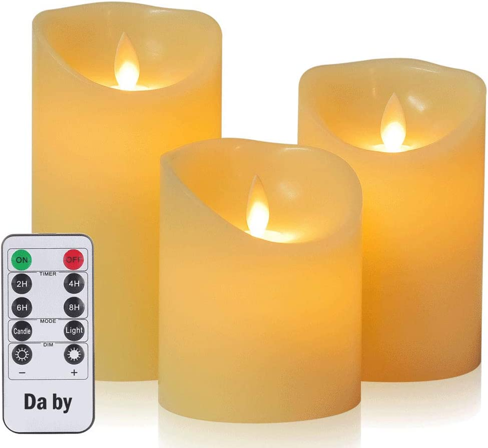 Daby's LED Candle, 3 Llama LED parpadeante (10 cm, 12,8 cm, 15,2 cm), Vela sin llama de 300 horas y control remoto de 10 botones.[Clase de eficiencia energética A].