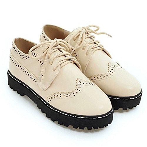 Zanpa Mujer Casual Oxford Shoes Cordones plataforma Zapatos Beige