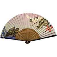TANG DYNASTY(TM) Japanese Silks Hand Fan Red crowned Crane Handheld Fan Jhf-165