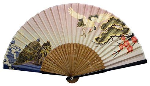 Tang-Dynasty(TM Japanese Silks Hand Fan Red crowned Crane Handheld Fan Jhf-165