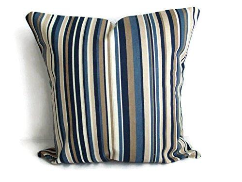 HANDMADE 2 SET - 18x18 Throw Pillow Case Blue Strip Fabric Accent Home Decor room pillows cases Contemporary Toss -