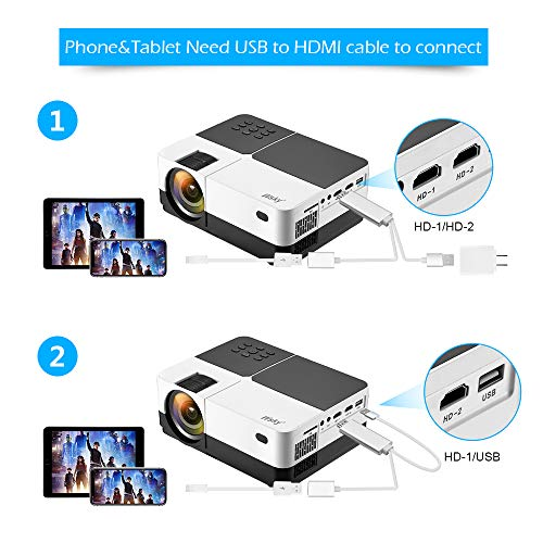 Wsky 2019 Newest LCD LED Outdoor Portable Home Theater Video Projector, Support HD 1080P Best for Outdoor Movie Night, Family, Compatible with Phone, PS4, Xbox, HDMI, USB, SD by Wsky (Image #4)