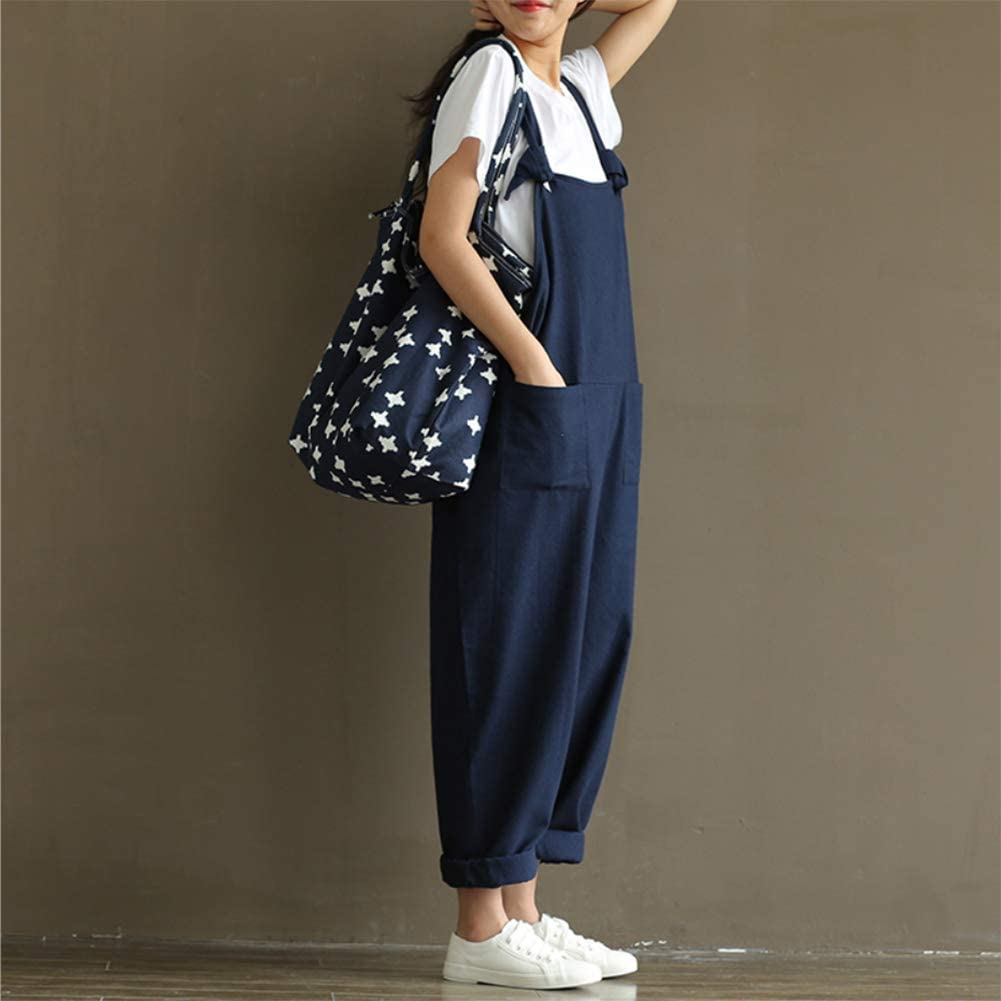 Helisopus Womens Linen Overalls Baggy Adjustable Strap Jumpsuits Casual Loose Wide Leg Rompers