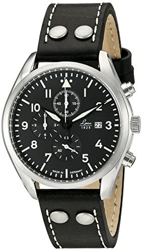 Laco 1925 Quartz Stainless Steel and Black Leather Casual Watch Model 861915
