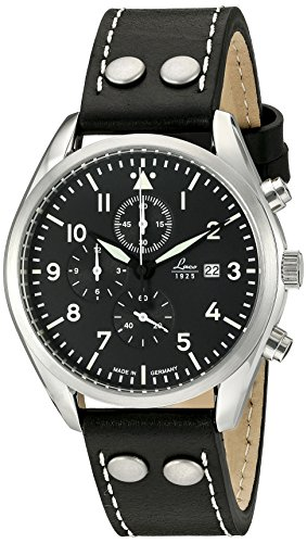 - Laco/1925 Quartz Stainless Steel and Black Leather Casual Watch (Model: 861915)