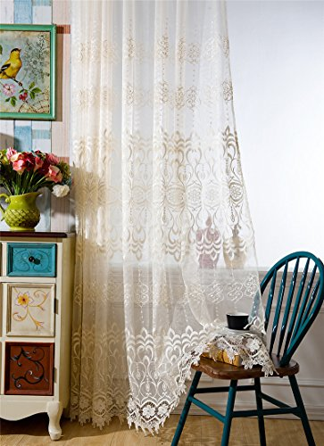 r Balcony Window Treatments Lace Embroidered Rod Pocket Top Window Curtain Sheer Panels Tulle Voile Door ROM Curtain Drape Sheer Scarf Living Room, 1 Panel ()