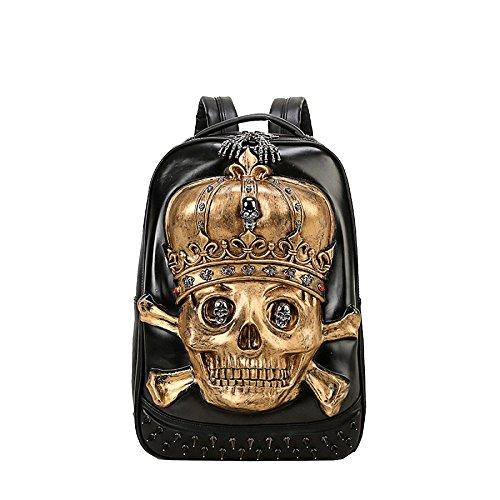 3D Hombres animal bolso computadora de mochila de PU alta la cráneo calidad 20 35L la portátil de mochila viaje Gold de realista W0qw08PUr