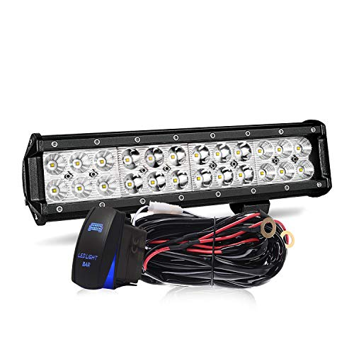 TURBOSII Led Light Bar 12Inch 72W Offroad Work Light Bar 7200LM Waterproof IP67 Spot Flood Combo Bumper Grill Lamps Led Driving Fog Lights w/Wiring Harness For Jeep Truck ATV UTV 12-24V,1 Yr Warranty
