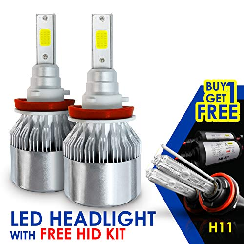 SLR Lighting LED Headlight Bulbs All-in-One with HID FREE EXTRA BACKUP Kit - H11 (H8, H9) -7,000Lm 6000K Cool White CREE