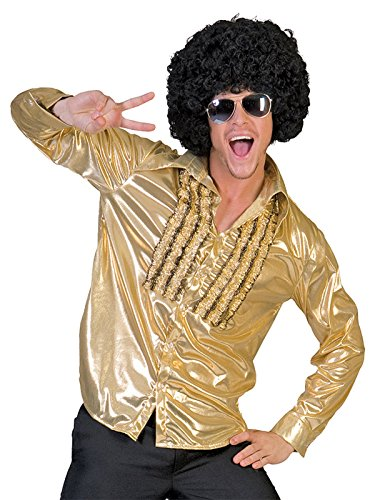 Shimmering Gold Shirt with Front Ruffle Detail Mens 70s Theater Costume Sizes: Medium (70s Disco Gold Adult Costume)