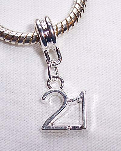 (Jewelry Making Supply Number 21 Twenty First Birthday Age Dangle Bead fits European Charm Bracelets)