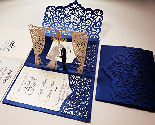 Pop up Wedding Invitation Pocket-Folds with Envelope. Memorable, Unique and Elegant Laser Cut 3D Design by Tada Cards. Perfect for Wedding Thank You Cards (Navy Blue Chandelier 10-Pack))