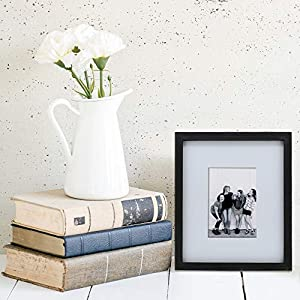 """Barnyard Designs Black Picture Frame with White Mat – Wood Photo Frame Display – Rustic Farmhouse Decor 5"""" x 7"""""""