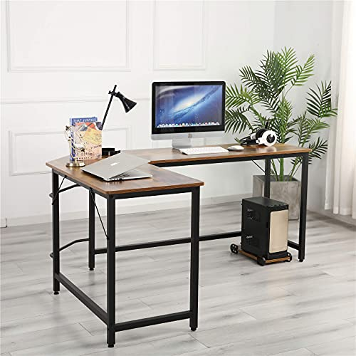 Modern L-Shaped Home Office Desk, 55.12