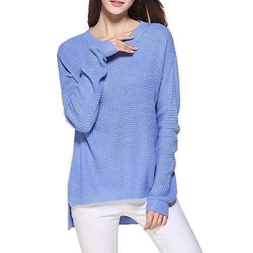 Automne Longue Large Rond Manche Femme Fashion Col Haut Pulli Shirt Jumper Fille Printemps Unicolore V Pull 7x4EqnIx