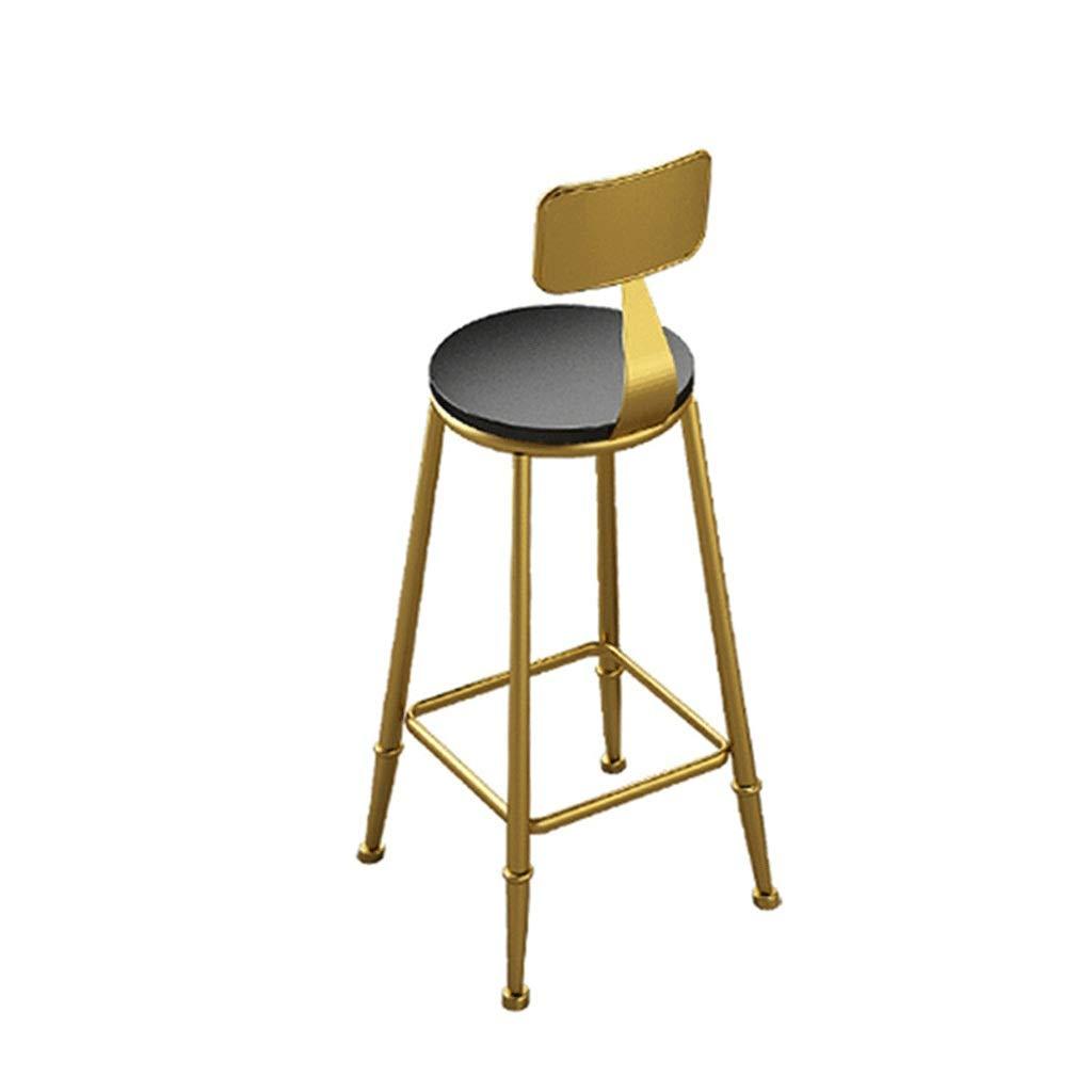 B Nordic Modern Wrought Iron Bar Stool,Leather Seat High Stool for Bar Cafe Western Restaurant 75cm 0522BAR (Size   B)