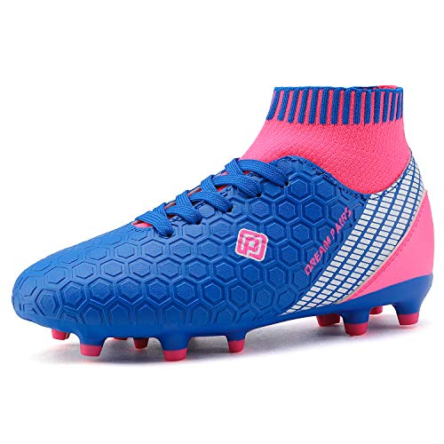 DREAM PAIRS Boys Girls HZ19007K Soccer Shoes Football Cleats Royal Blue Fuchsia Size 12 M US Little Kid