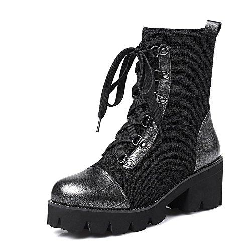 talón Black Tobillo de de negro puntera de vino botas Zapatos Chunky ocasionales invierno Cuero mujer de para botines Cuero primavera Nubuck HSXZ redonda botines gcOfq5WW