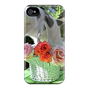 Tpu Case Cover For Iphone 4/4s Strong Protect Case - A Cat Roses Design