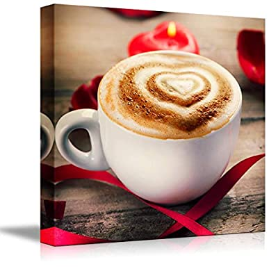 Canvas Prints Wall Art - Valentine's Day Coffe or Cappuccino with Heart on Foam | Modern Wall Decor/Home Art Stretched Gallery Canvas Wraps Giclee Print & Ready to Hang - 16