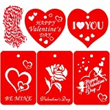 100 Pieces Valentine Gift Tags,Red Kraft Paper Wedding Gift Tags With String for Valentine's Day Wedding Party Gift Wrapping Labeling - 5 Designs: more info