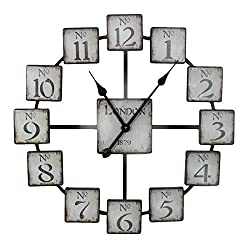 Essential Décor Entrada Collection Metal Wall Clock, 23.6 by 23.6 by 1.7-Inch