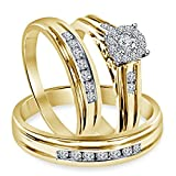 Smjewels 1.30 Ct Diamond Engagement Ring Wedding Trio Set In Solid 14k Yellow Gold Fn 925