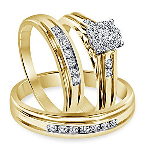 Smjewels 1.30 Ct Diamond Engagement Ring Wedding Trio Set In Solid 14k Yellow Gold Fn 925 by Smjewels (Image #1)
