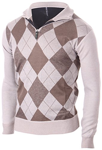 - Enimay Men's Fashion Business Casual Long Sleeve Half Zip Argyle Pull Over Vintage Brown Size S